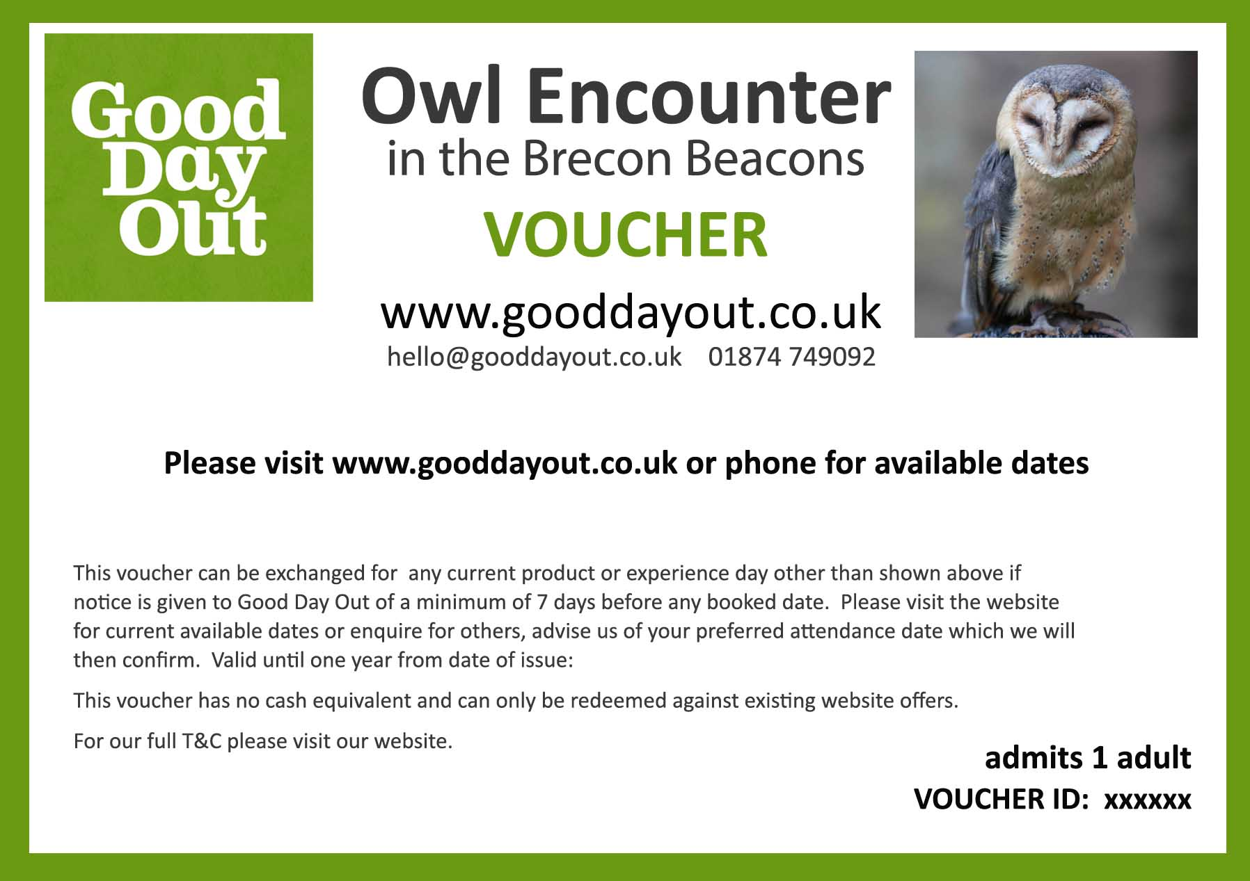 owl encounter gift voucher
